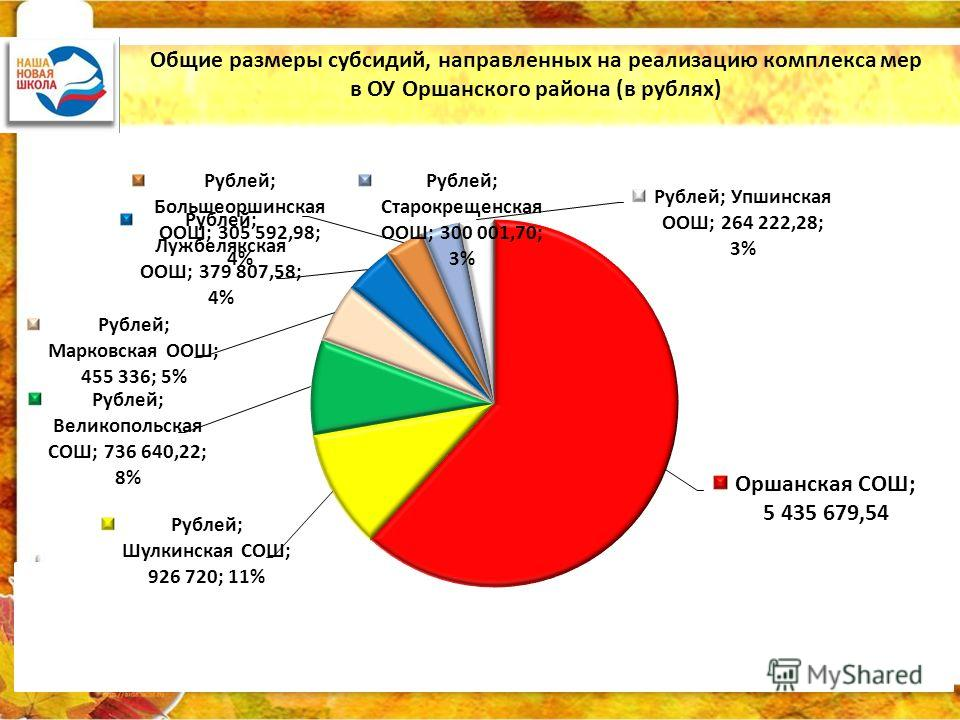 Общие размеры субсидий, направленных на реализацию комплекса мер в ОУ Оршанского района (в рублях)