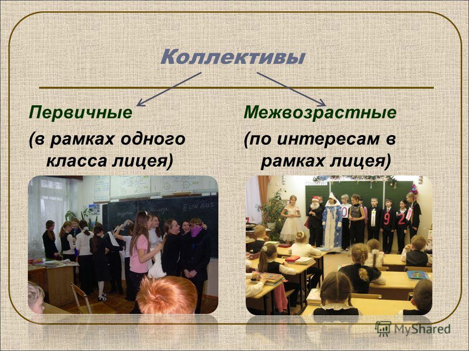Коллективы Первичные (в рамках одного класса лицея) Межвозрастные (по интересам в рамках лицея)