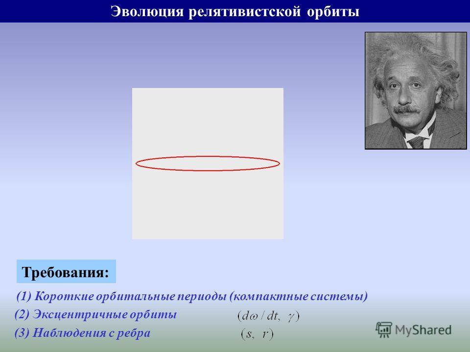 Эволюция релятивистской орбиты Требования: (1) Короткие орбитальные периоды (компактные системы) (2) Эксцентричные орбиты (3) Наблюдения с ребра