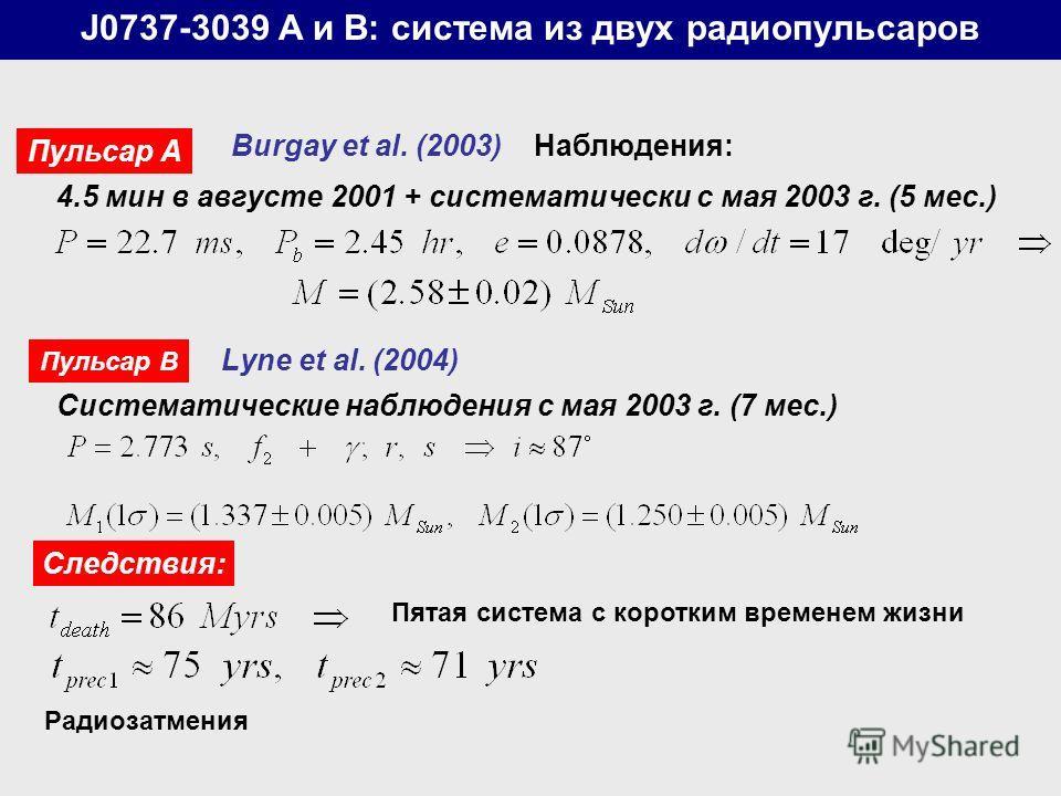 J0737-3039 A и B: система из двух радиопульсаров Пульсар А Burgay et al. (2003) Наблюдения: 4.5 мин в августе 2001 + систематически с мая 2003 г. (5 мес.) Пульсар B Lyne et al. (2004) Систематические наблюдения с мая 2003 г. (7 мес.) Следствия: Пятая