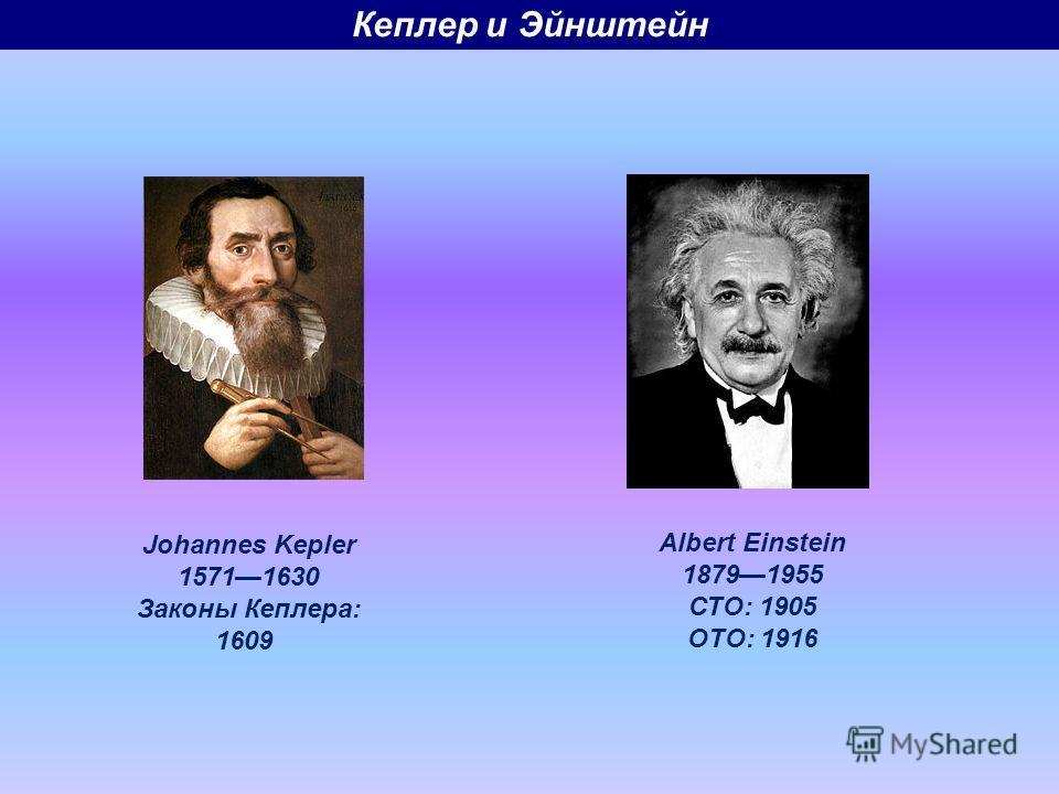 Johannes Kepler 15711630 Законы Кеплера: 1609 Albert Einstein 18791955 СТО: 1905 ОТО: 1916 Кеплер и Эйнштейн