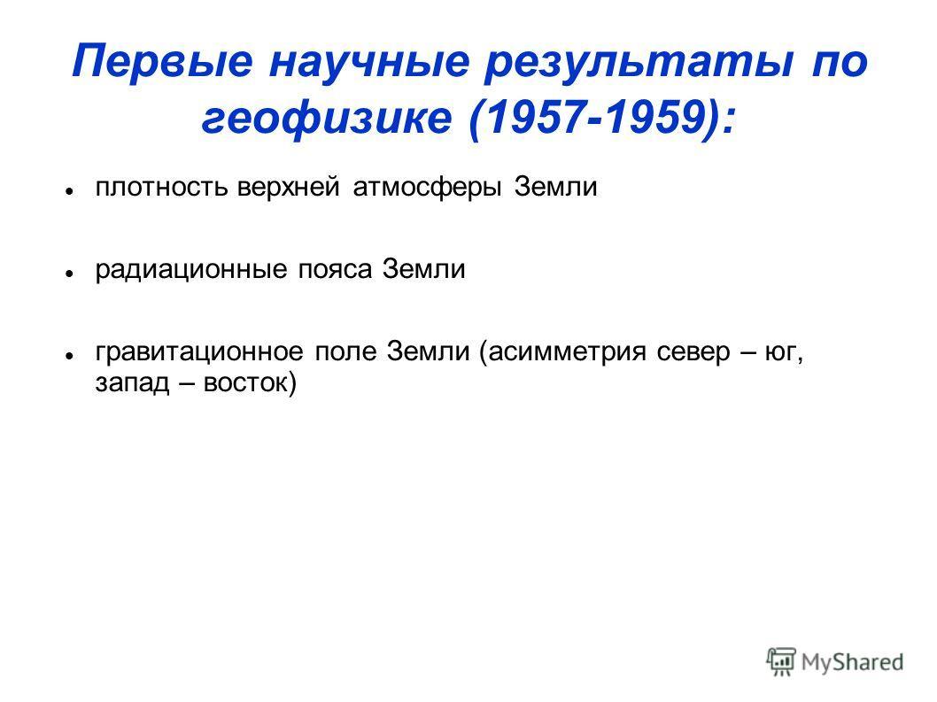 Первые научные результаты по геофизике (1957-1959): плотность верхней атмосферы Земли радиационные пояса Земли гравитационное поле Земли (асимметрия север – юг, запад – восток)