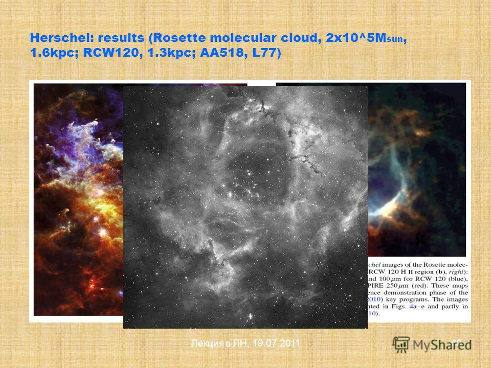 Лекция в ЛН, 19.07.201139 Herschel: instruments The Photodetector Array Camera and Spectrometer (PACS) instrument is provided a consortium led by A. Poglitsch, MPE, Garching, Germany. The Spectral and Photometric Imaging REceiver (SPIRE) instrument i