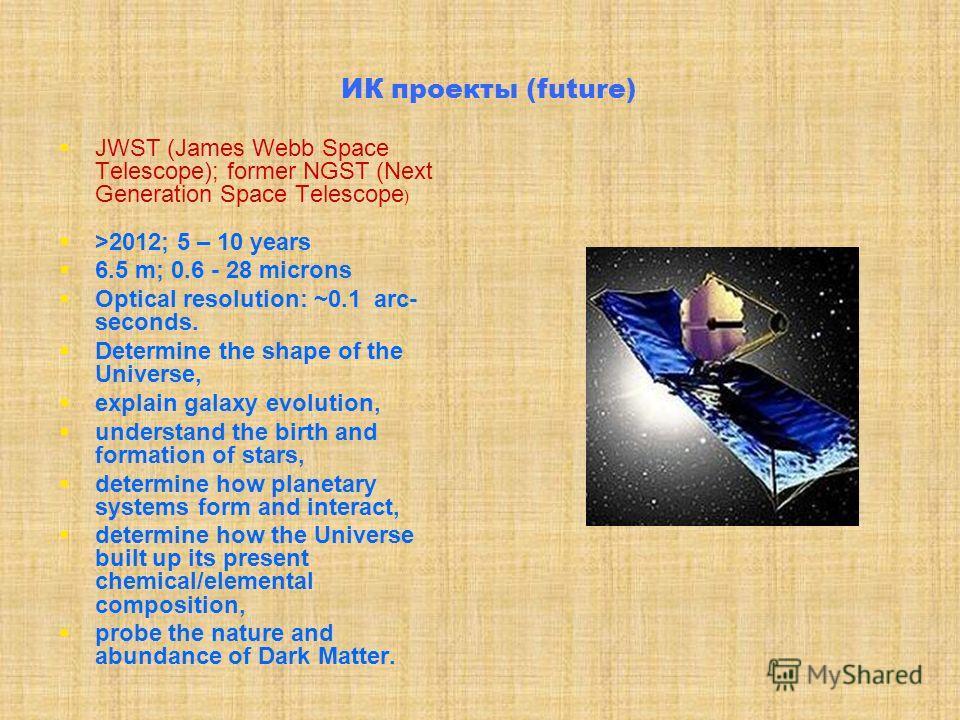 ИК проекты (SOFIA) Первый «свет»: Август 2004: (наблюдения Полярной с Земли) Установлена крышка: Декабрь 2004