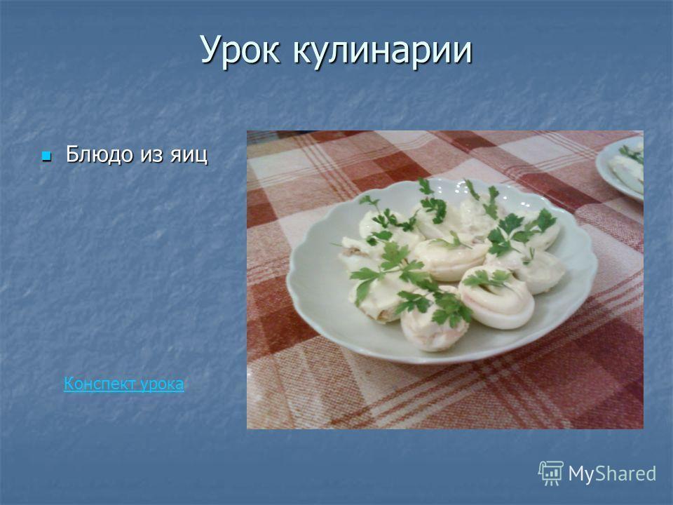 Урок кулинарии Блюдо из яиц Блюдо из яиц Конспект урока