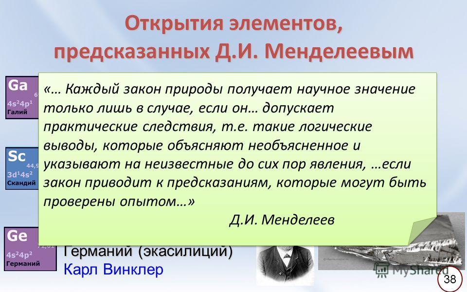 Открытия элементов, предсказанных Д.И. Менделеевым 27 августа 1875 г. Галлий (экаалюминий) Лекок де Буабодран 12 марта 1879 г. Скандий (экабор) Ларс Нильсон 6 февраля 1886 г. Германий (экасилиций) Карл Винклер «… Каждый закон природы получает научное