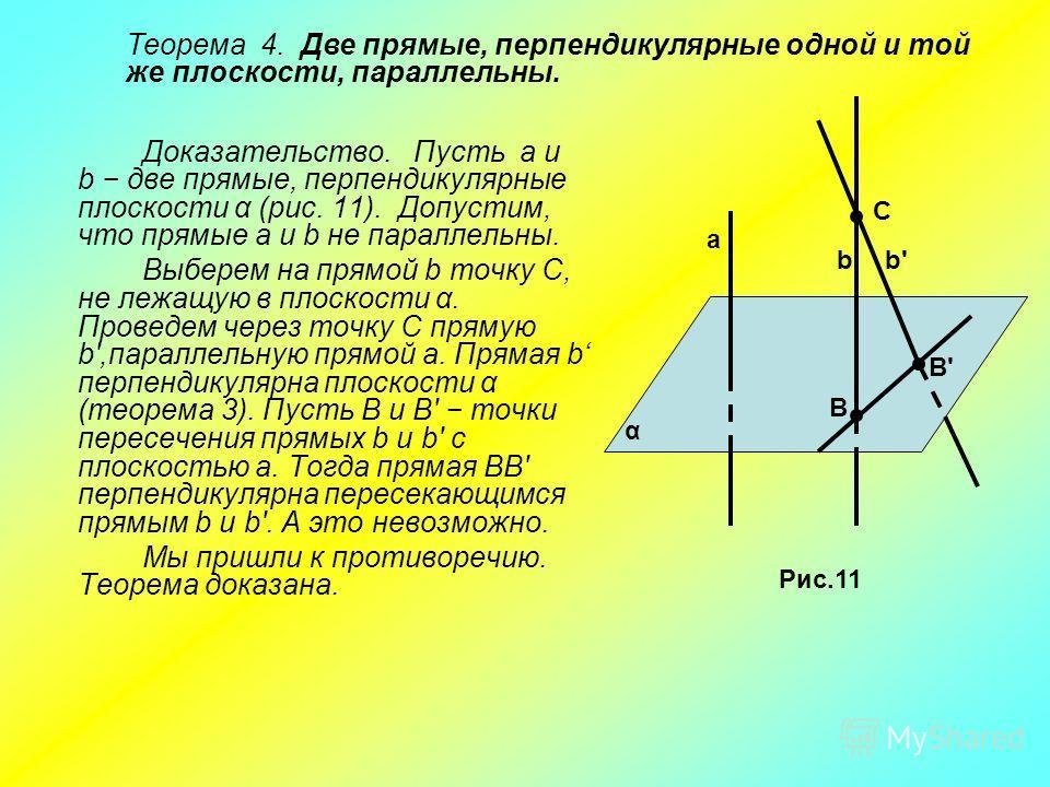 Доказательство. Пусть а и b две прямые, перпендикулярные плоскости α (рис. 11). Допустим, что прямые а и b не параллельны. Выберем на прямой b точку С, не лежащую в плоскости α. Проведем через точку С прямую b',параллельную прямой а. Прямая b перпенд
