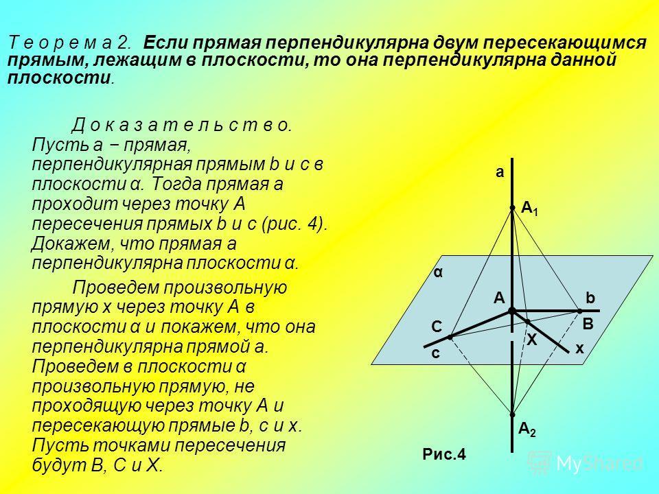 Д о к а з а т е л ь с т в о. Пусть а прямая, перпендикулярная прямым b и c в плоскости α. Тогда прямая а проходит через точку А пересечения прямых b и с (рис. 4). Докажем, что прямая а перпендикулярна плоскости α. Проведем произвольную прямую х через