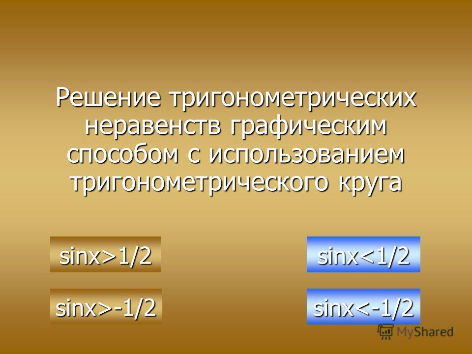 Решение тригонометрических неравенств графическим способом с использованием тригонометрического круга sinx>1/2 sinx>-1/2 sinx