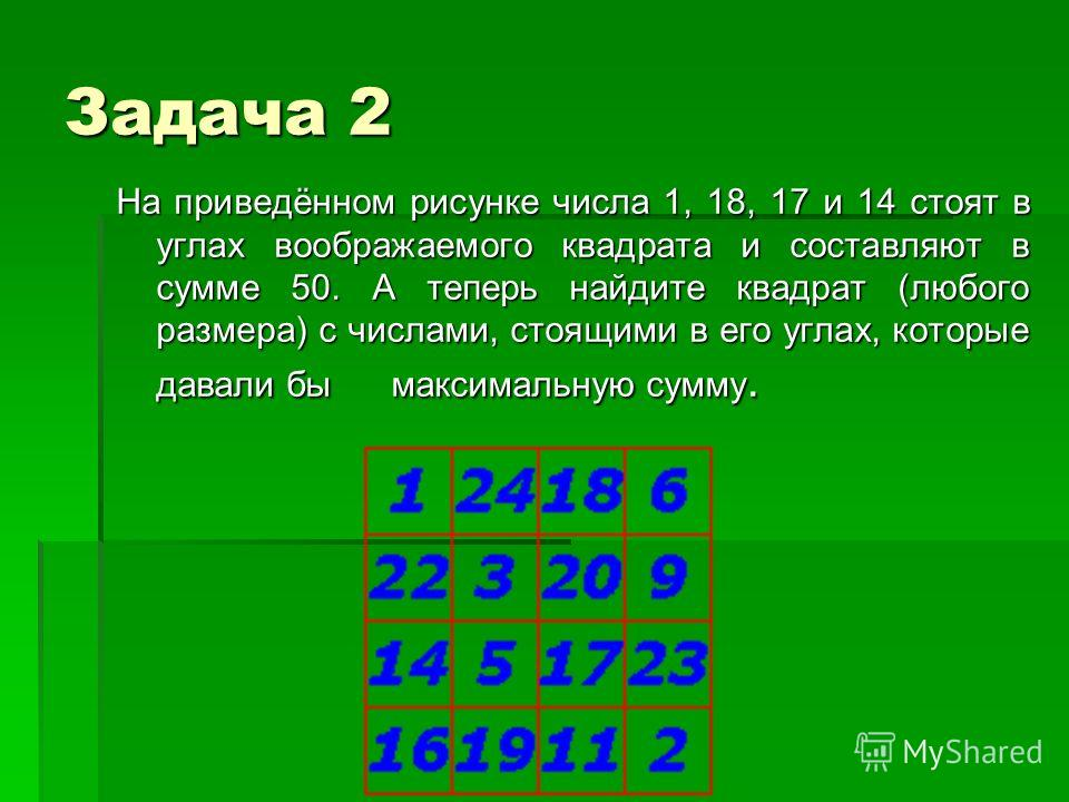 Задача 2 На приведённом рисунке числа 1, 18, 17 и 14 стоят в углах воображаемого квадрата и составляют в сумме 50. А теперь найдите квадрат (любого размера) с числами, стоящими в его углах, которые давали бы максимальную сумму.