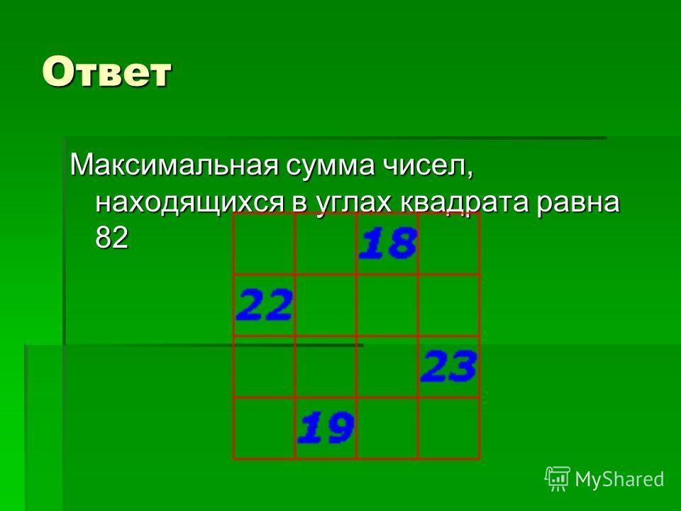 Ответ Максимальная сумма чисел, находящихся в углах квадрата равна 82
