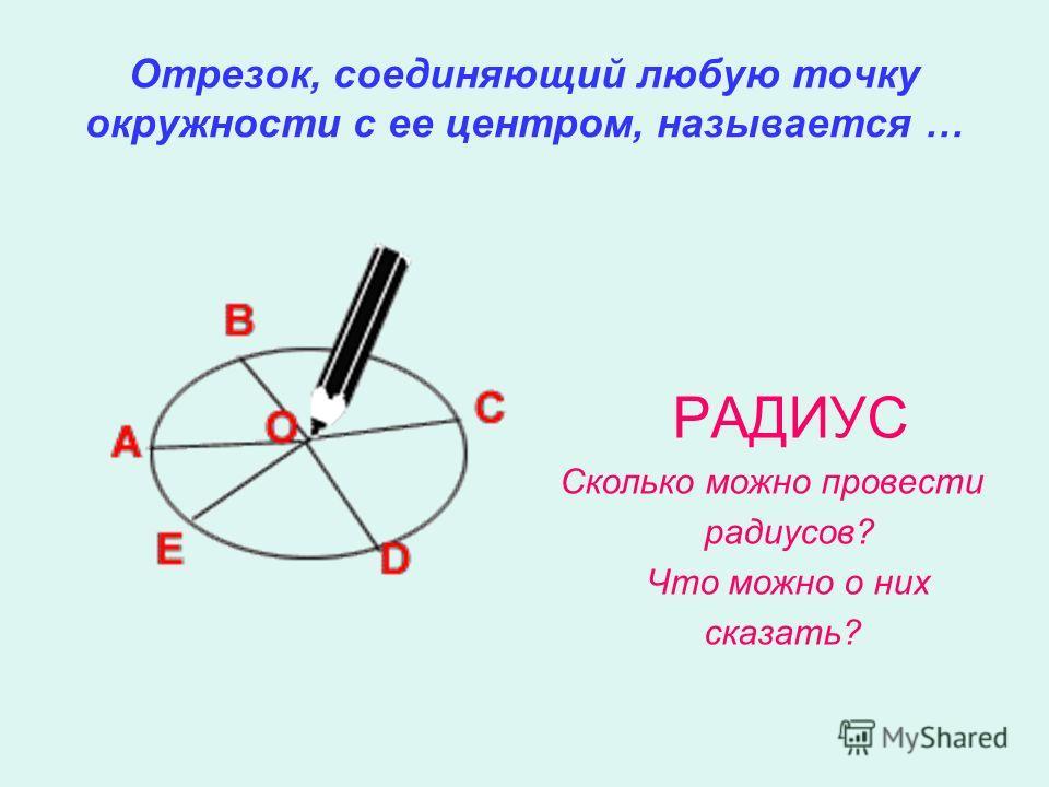 Отрезок, соединяющий любую точку окружности с ее центром, называется … РАДИУС Сколько можно провести радиусов? Что можно о них сказать?