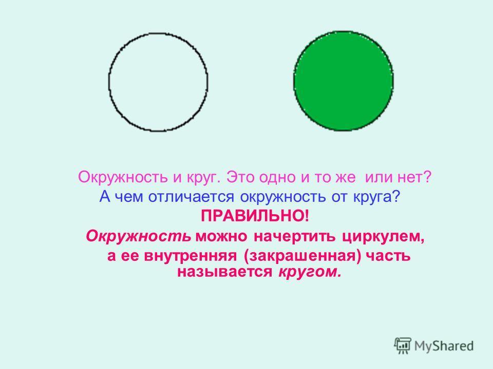 Окружность и круг. Это одно и то же или нет? А чем отличается окружность от круга? ПРАВИЛЬНО! Окружность можно начертить циркулем, а ее внутренняя (закрашенная) часть называется кругом.