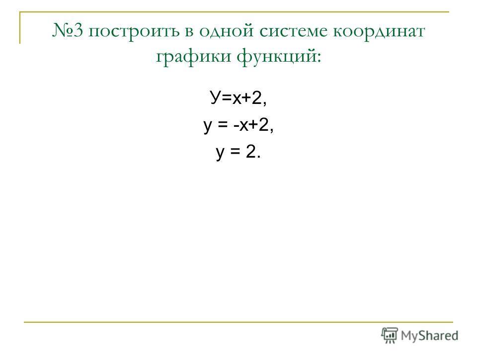 3 построить в одной системе координат графики функций: У=х+2, у = -х+2, у = 2.