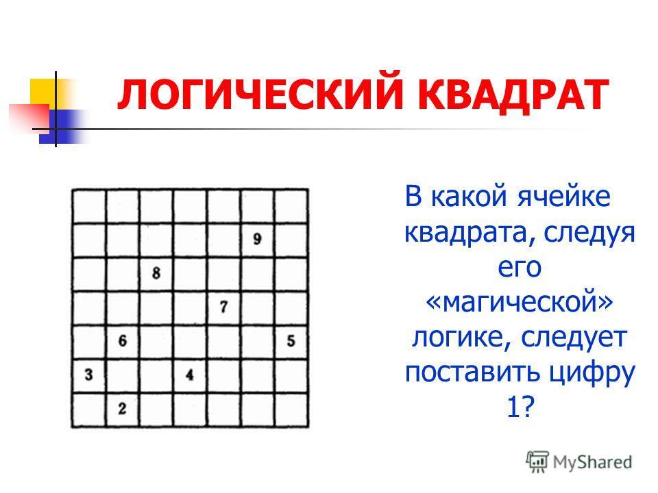 ЛОГИЧЕСКИЙ КВАДРАТ В какой ячейке квадрата, следуя его «магической» логике, следует поставить цифру 1?