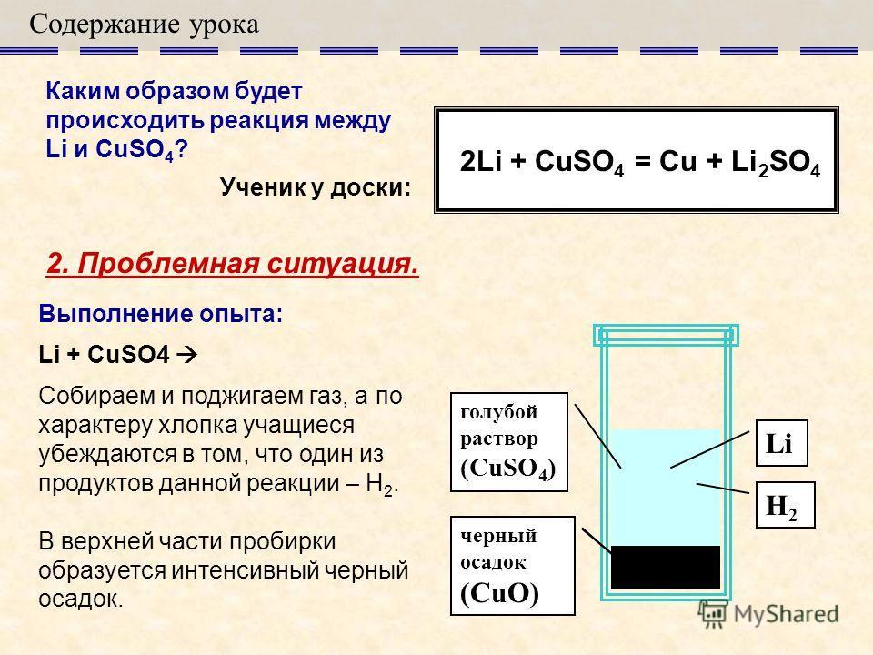 Содержание урока 2. Проблемная ситуация. Каким образом будет происходить реакция между Li и CuSO 4 ? 2Li + CuSO 4 = Cu + Li 2 SO 4 Ученик у доски: Li H2H2 голубой раствор (CuSO 4 ) голубой осадок (Cu(OH) 2 ) черный осадок (CuO) Выполнение опыта: Li +