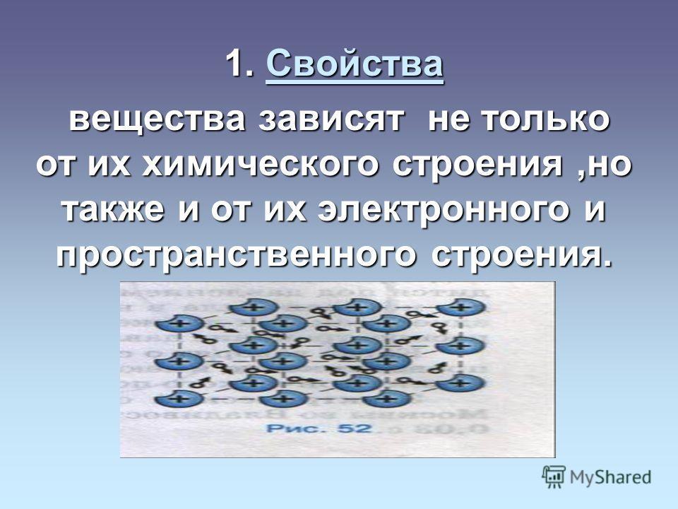 1. Свойства Свойства вещества зависят не только от их химического строения,но также и от их электронного и пространственного строения. вещества зависят не только от их химического строения,но также и от их электронного и пространственного строения.