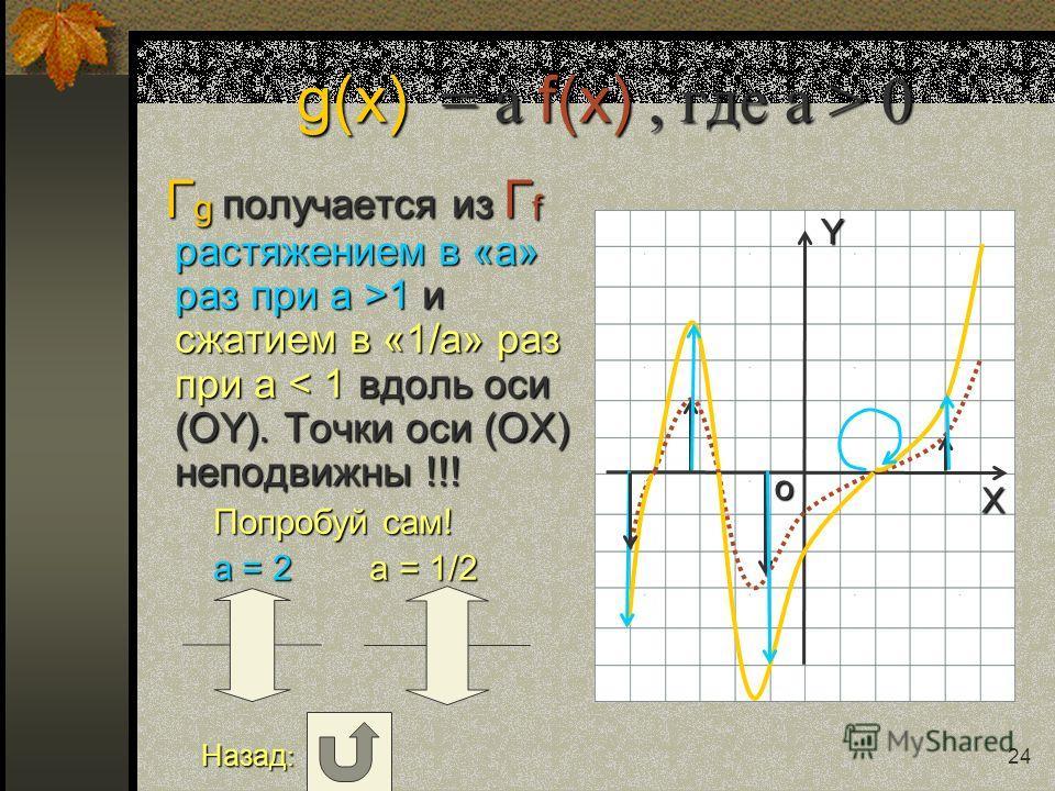 Y X o 23 Искомое множество точек получается из Г f так: часть Г f, лежавшая в нижней полуплоскости, бесследно исчезает, а часть Г f, лежавшая в верхней полуплоскости, остаётся без изменений и она же отражается симметрично относительно оси (ОY) без из