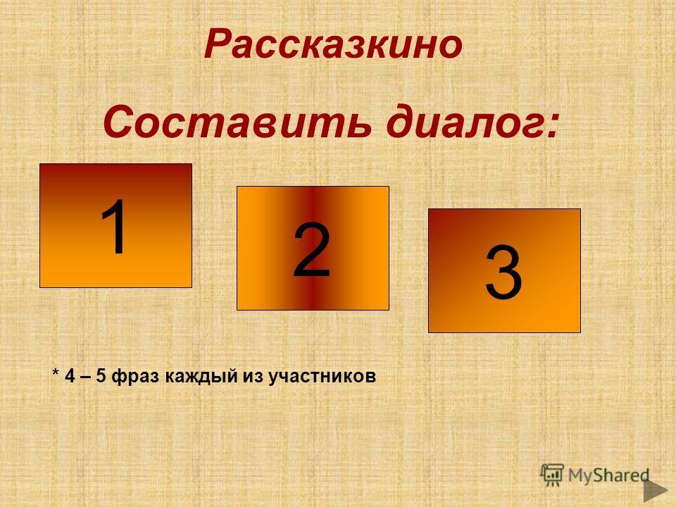Рассказкино Составить диалог: 1 2 3 * 4 – 5 фраз каждый из участников