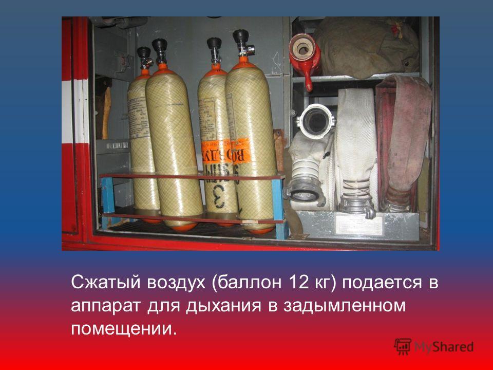Сжатый воздух (баллон 12 кг) подается в аппарат для дыхания в задымленном помещении.