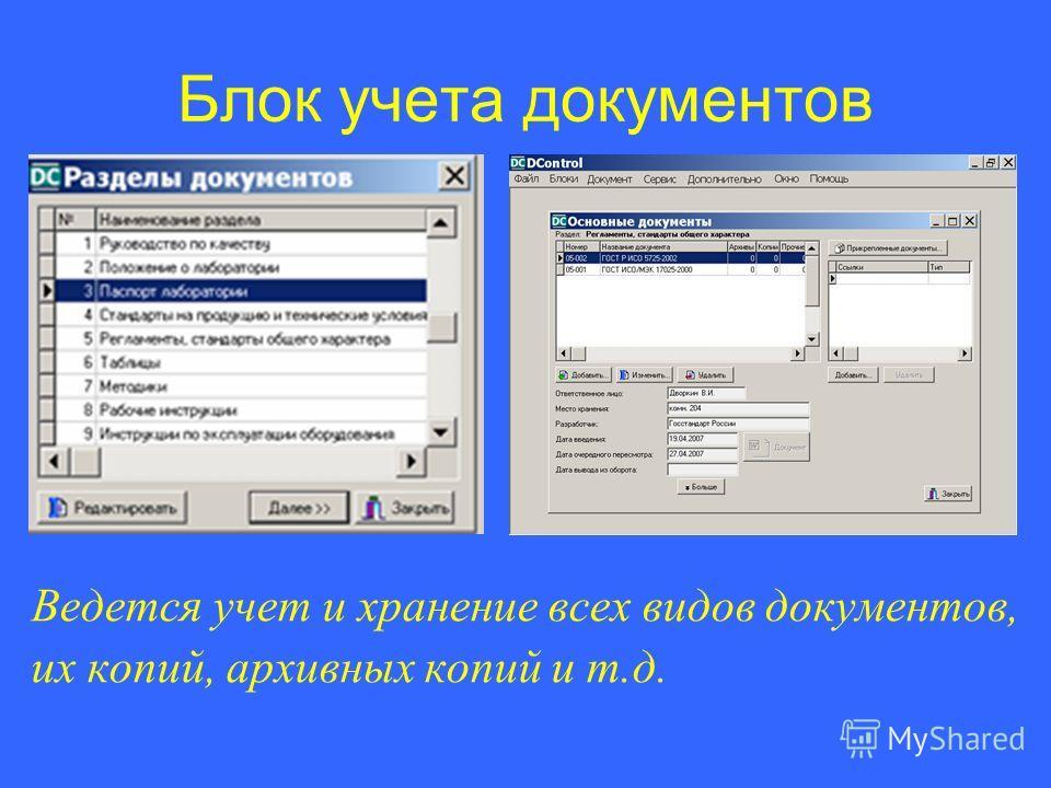 Блок учета документов Ведется учет и хранение всех видов документов, их копий, архивных копий и т.д.
