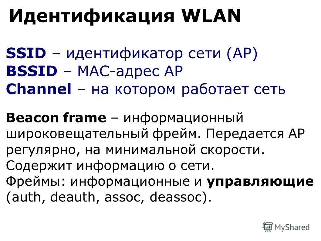 SSID – идентификатор сети (AP) BSSID – MAC-адрес AP Channel – на котором работает сеть Идентификация WLAN Beacon frame – информационный широковещательный фрейм. Передается AP регулярно, на минимальной скорости. Содержит информацию о сети. Фреймы: инф