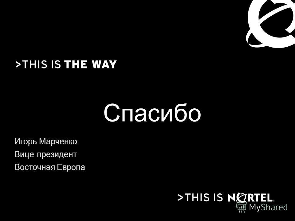 Спасибо Игорь Марченко Вице-президент Восточная Европа