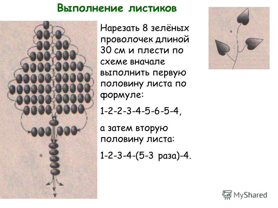 Выполнение листиков Нарезать 8 зелёных проволочек длиной 30 см и плести по схеме вначале выполнить первую половину листа по формуле: 1-2-2-3-4-5-6-5-4, а затем вторую половину листа: 1-2-3-4-(5-3 раза)-4.