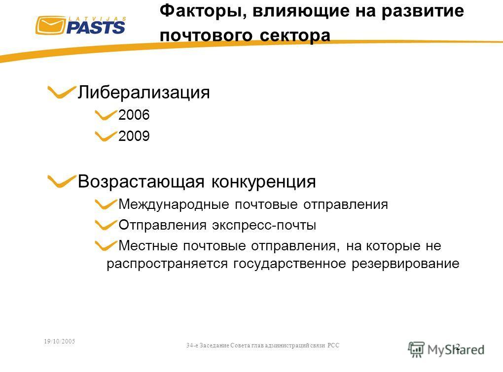 19/10/2005 34-e Заседание Совета глав администраций связи РСС 2 Факторы, влияющие на развитие почтового сектора Либерализация 2006 2009 Возрастающая конкуренция Международные почтовые отправления Отправления экспресс-почты Местные почтовые отправлени