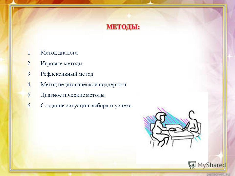1. Метод диалога 2. Игровые методы 3. Рефлексивный метод 4. Метод педагогической поддержки 5. Диагностические методы 6. Создание ситуации выбора и успеха.
