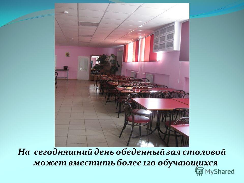 На сегодняшний день обеденный зал столовой может вместить более 120 обучающихся