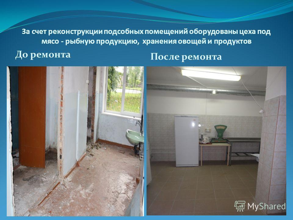 За счет реконструкции подсобных помещений оборудованы цеха под мясо - рыбную продукцию, хранения овощей и продуктов До ремонта После ремонта