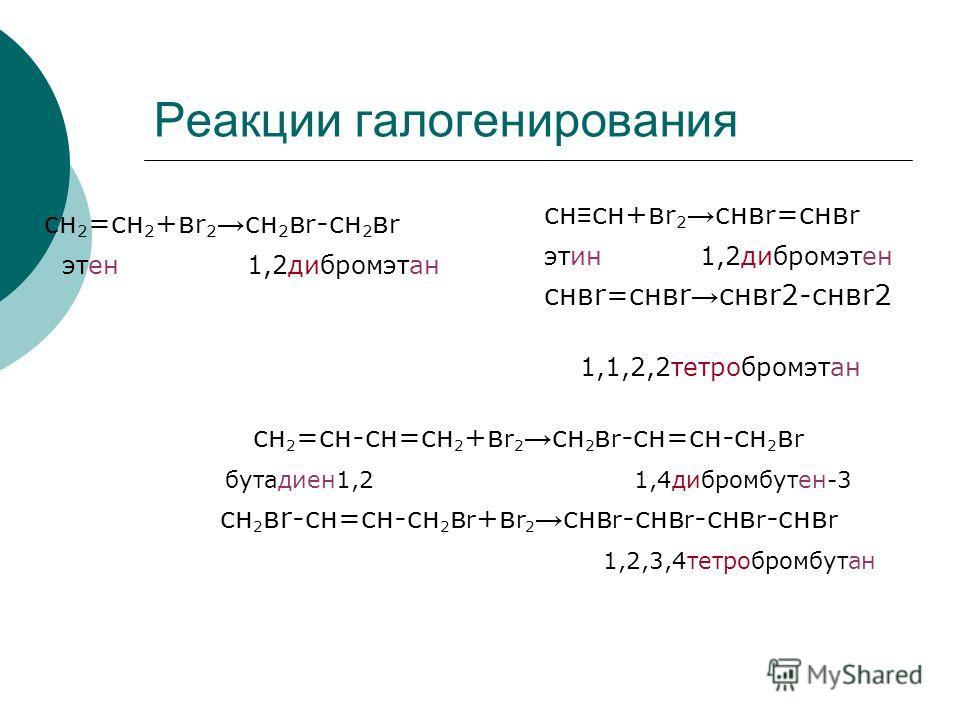 Реакции галогенирования cн 2 =сн 2 +в r 2 cн 2 в r -сн 2 в r этен 1,2дибромэтан сн сн+в r 2 cнв r =снв r этин 1,2дибромэтен снвr=снвr снвr2-cнвr2 1,1,2,2тетробромэтан сн 2 =сн-сн=сн 2 +в r 2 сн 2 в r -сн=сн-сн 2 в r бутадиен1,2 1,4дибромбутен-3 сн 2