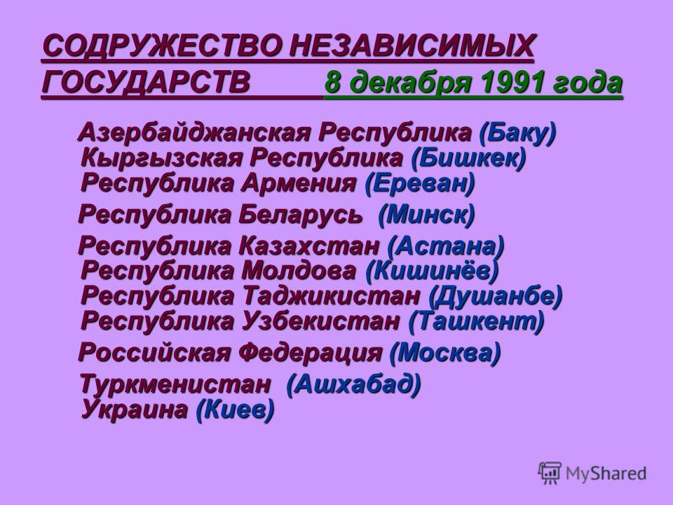 СОДРУЖЕСТВО НЕЗАВИСИМЫХ ГОСУДАРСТВ 8 декабря 1991 года Азербайджанская Республика (Баку) Кыргызская Республика (Бишкек) Республика Армения (Ереван) Азербайджанская Республика (Баку) Кыргызская Республика (Бишкек) Республика Армения (Ереван) Республик