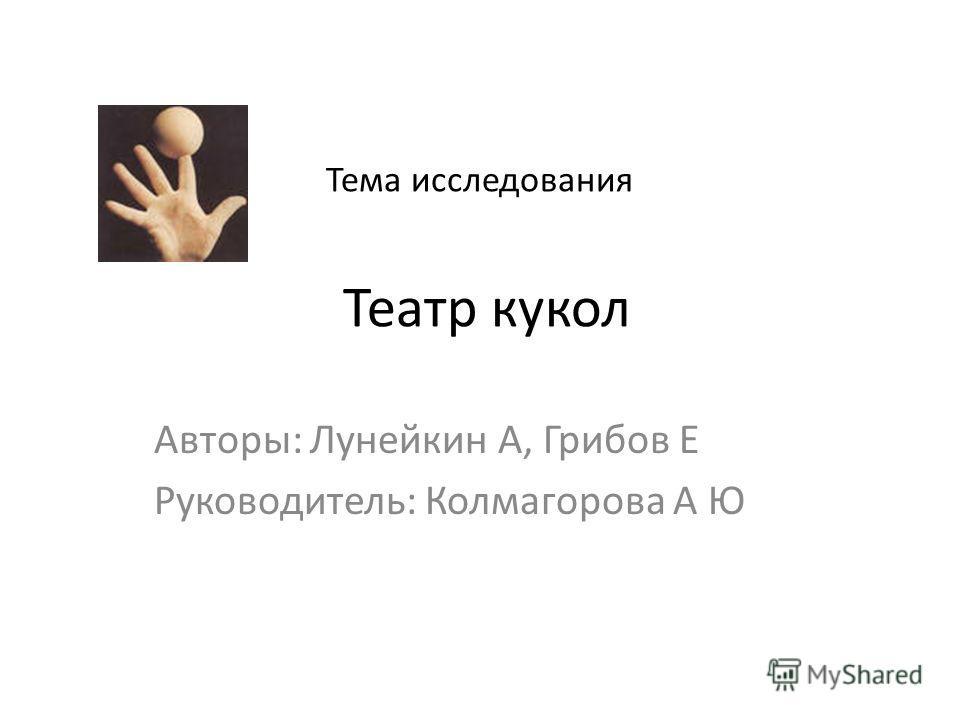 Тема исследования Театр кукол Авторы: Лунейкин А, Грибов Е Руководитель: Колмагорова А Ю