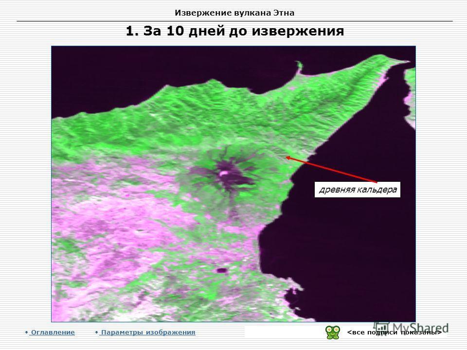 Извержение вулкана Этна древняя кальдера Оглавление Параметры изображения 1. 1. За 10 дней до извержения