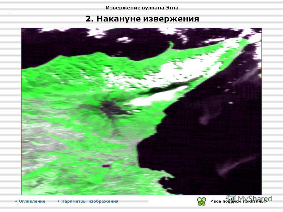Извержение вулкана Этна Оглавление Параметры изображения 2. Накануне извержения