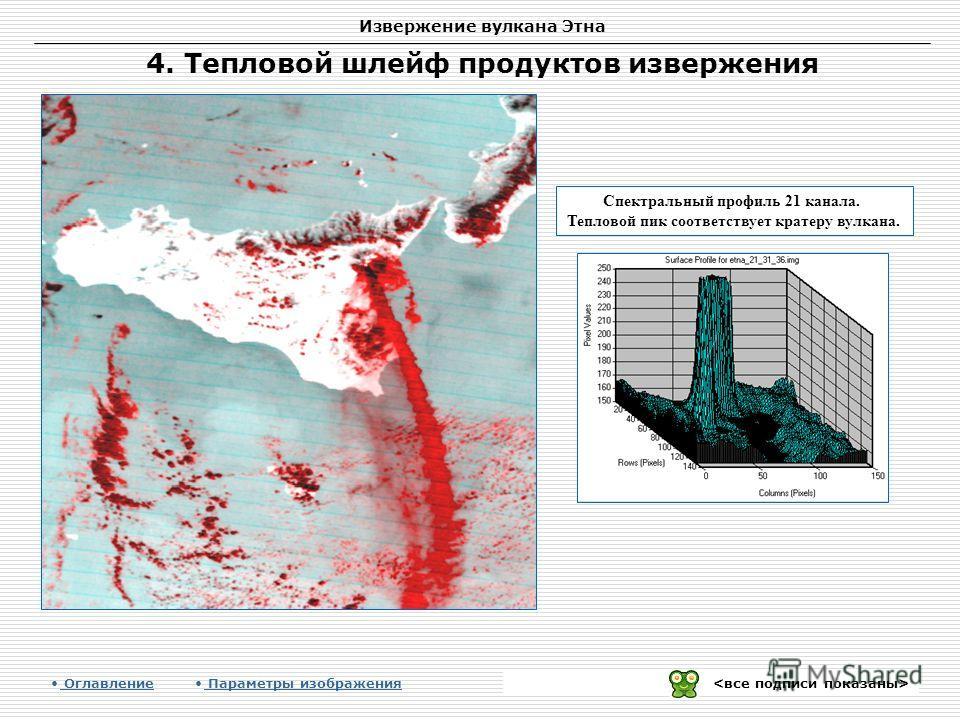 Извержение вулкана Этна Спектральный профиль 21 канала. Тепловой пик соответствует кратеру вулкана. 4. Тепловой шлейф продуктов извержения Оглавление Параметры изображения