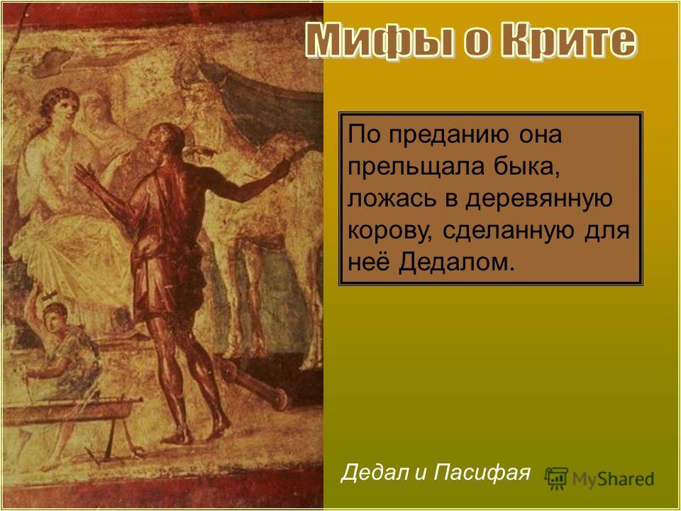 Дедал и Пасифая По преданию она прельщала быка, ложась в деревянную корову, сделанную для неё Дедалом.