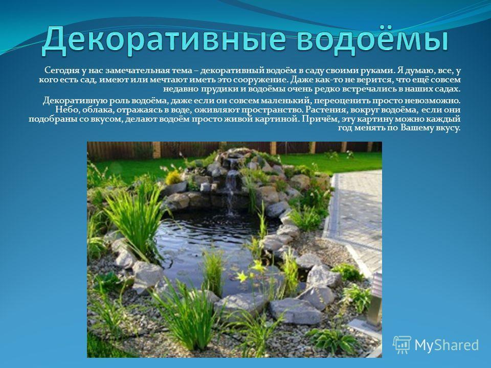 Сегодня у нас замечательная тема – декоративный водоём в саду своими руками. Я думаю, все, у кого есть сад, имеют или мечтают иметь это сооружение. Даже как-то не верится, что ещё совсем недавно прудики и водоёмы очень редко встречались в наших садах