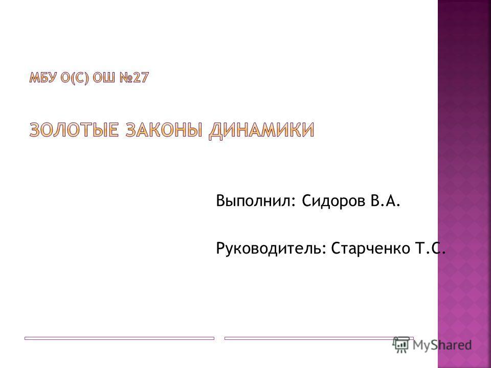 Выполнил: Сидоров В.А. Руководитель: Старченко Т.С.