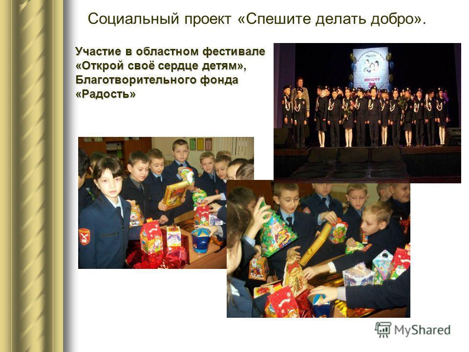 Социальный проект «Спешите делать добро». Участие в областном фестивале «Открой своё сердце детям», Благотворительного фонда «Радость»