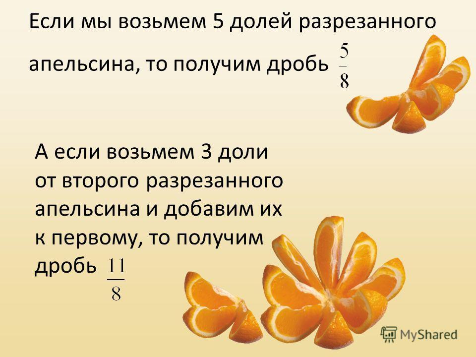 Если мы возьмем 5 долей разрезанного апельсина, то получим дробь А если возьмем 3 доли от второго разрезанного апельсина и добавим их к первому, то получим дробь