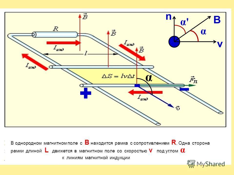 α В однородном магнитном поле c B находится рамка с сопротивлением R. Одна сторона рамки длиной L движется в магнитном поле со скоростью v под углом α к линиям магнитной индукции v n B α α'α'