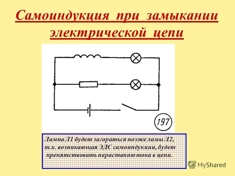 Самоиндукция при замыкании электрической цепи Лампа Л1 будет загораться позже ламы Л2, т.к. возникающая ЭДС самоиндукции, будет препятствовать нарастанию тока в цепи.