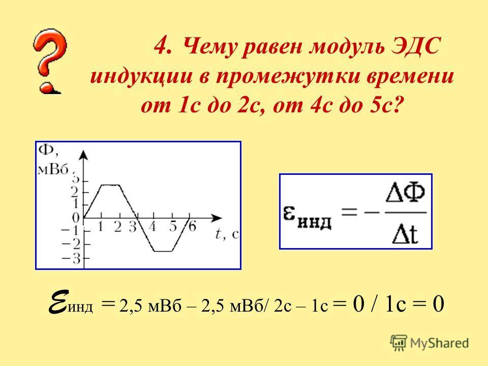 4. Чему равен модуль ЭДС индукции в промежутки времени от 1с до 2с, от 4с до 5с? E инд = 2,5 мВб – 2,5 мВб/ 2с – 1с = 0 / 1с = 0
