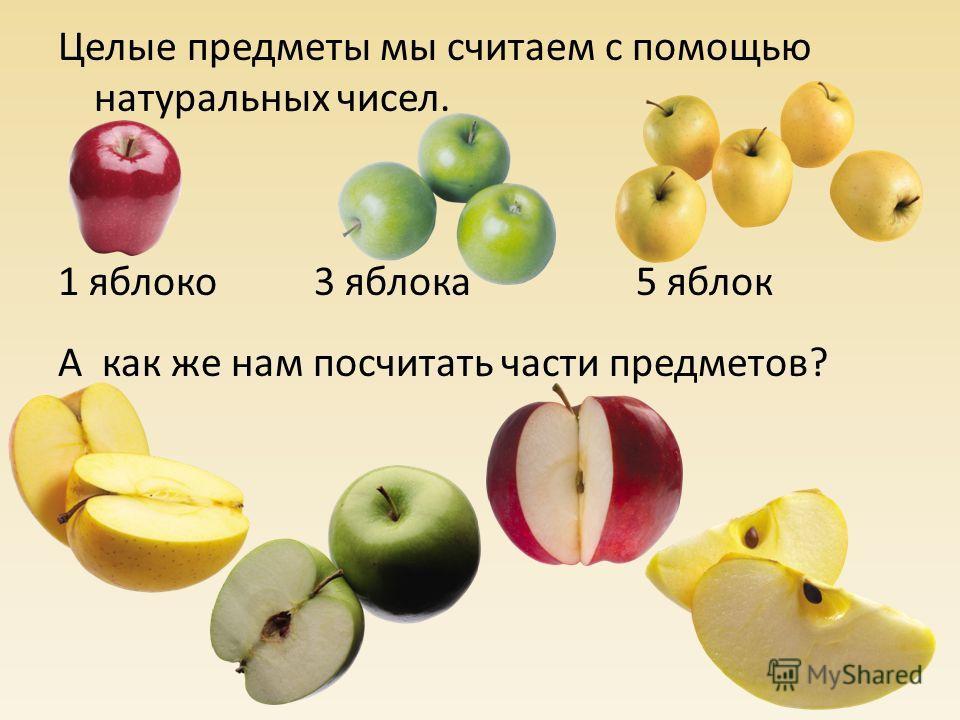 Целые предметы мы считаем с помощью натуральных чисел. 1 яблоко 3 яблока 5 яблок А как же нам посчитать части предметов?