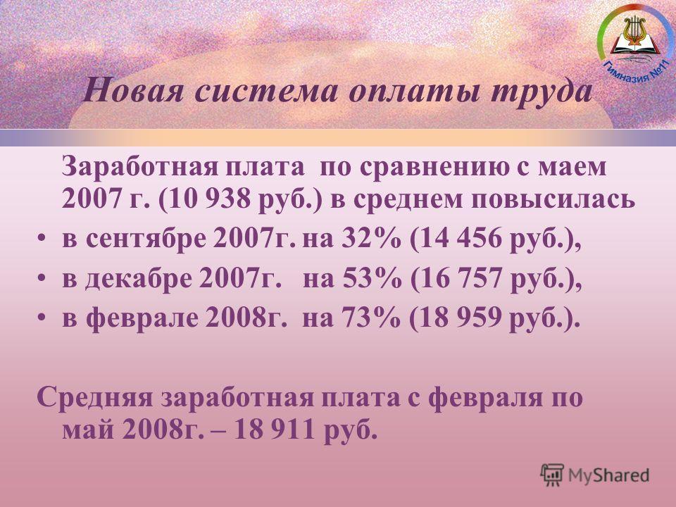 Заработная плата по сравнению с маем 2007 г. (10 938 руб.) в среднем повысилась в сентябре 2007г. на 32% (14 456 руб.), в декабре 2007г. на 53% (16 757 руб.), в феврале 2008г. на 73% (18 959 руб.). Средняя заработная плата с февраля по май 2008г. – 1