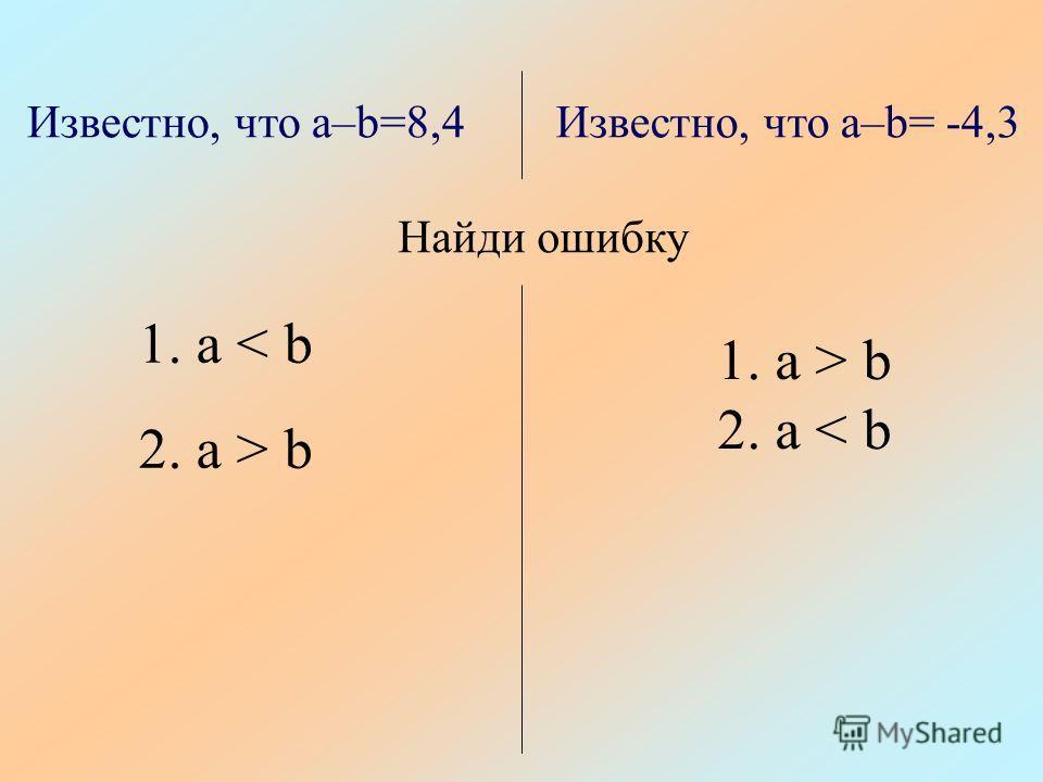 Известно, что a–b=8,4Известно, что a–b= -4,3 Найди ошибку 1. a < b 2. a > b 1. a > b 2. a < b