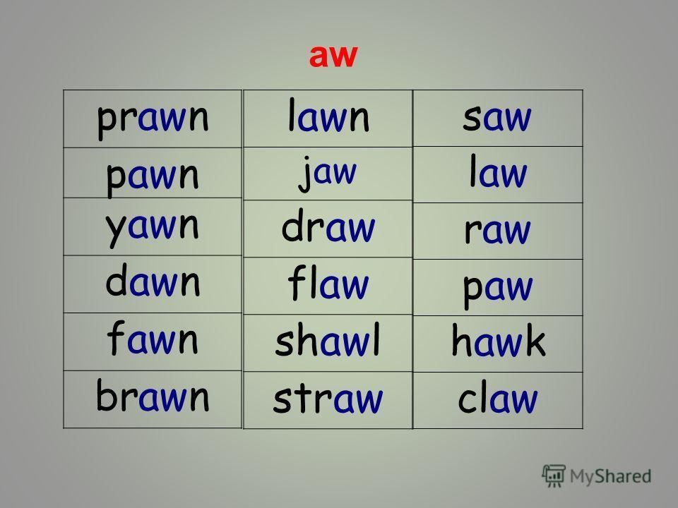 prawn pawn yawn dawn fawn brawn lawn jaw draw flaw shawl straw saw law raw paw hawk claw aw